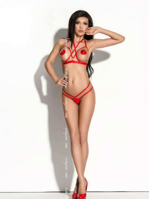 Me Seduce 'ginette' Erotic Fantasy Strappy Open Cup Lingerie Set (red)