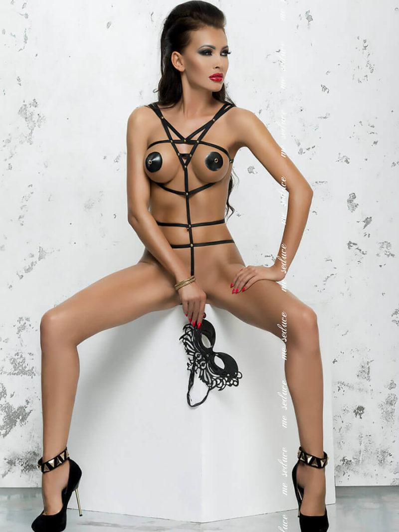 Me Seduce 'lola' Erotic Fantasy Wet Look Ultra Revealing Body (black)