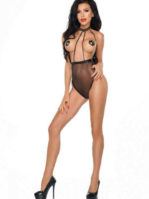 Me Seduce 'lucy' Erotic Fantasy Open Cup Sheer Body (black)