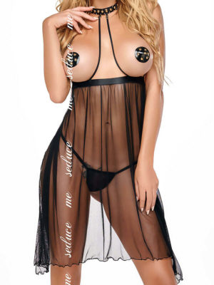 Me Seduce 'lucy' Erotic Fantasy Open Cup Sheer Chemise (black)