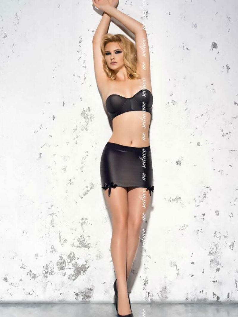 Me Seduce 'tess' Erotic Fantasy Retro Faux-leather Lingerie Set (black)