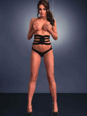Me Seduce 'valeria' Erotic Fantasy Strappy High Waist Knickers (black)