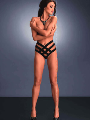 Me Seduce 'vanda' Erotic Fantasy Criss Cross Thong Knickers (black)