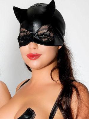 Me Seduce 'mask' 003 Erotic Fantasy Wet Look Cat Woman (black)