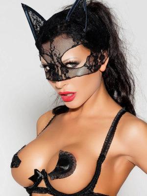 Me Seduce 'mask' 004 Erotic Fantasy Wet Look Cat Woman (black)