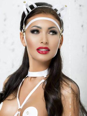 Me Seduce 'mask' 007 Erotic Fantasy Lingerie With Cat Ears (white)