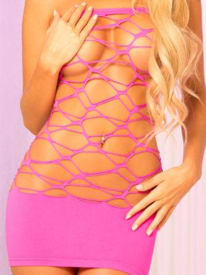 Pink Lipstick Lingerie Web Of Seduction Seamless Geometric Tube Dress (hot Pink)