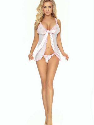 Provocative Seduction Pr1475 Fleur D'ete Babydoll (white/pink)