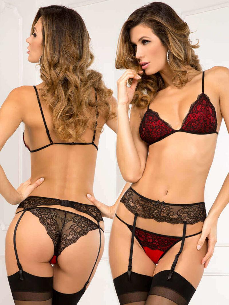 René Rofé Sexy Scarlet Black Bra With Garter And Panty Set