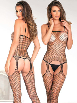 René Rofé Sexy Industrial Net Suspender Bodystocking (black)