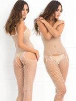 René Rofé Sexy Industrial Net Suspender Bodystocking (white)