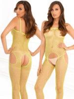 René Rofé Sexy Industrial Net Suspender Bodystocking (lime/yellow)