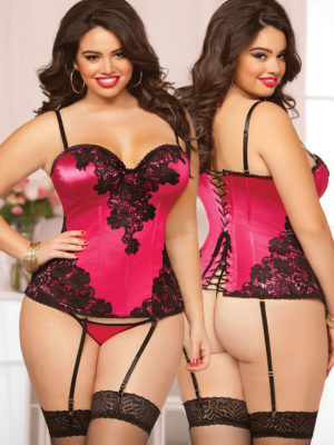 Seven 'til Midnight Alluring Fuchsia Corset And Thong Set (plus Size)
