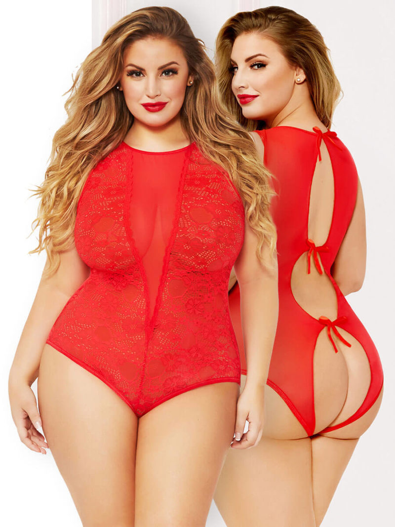 Seven 'til Midnight Red Lace With Satin Tie-back Teddy (plus Size)
