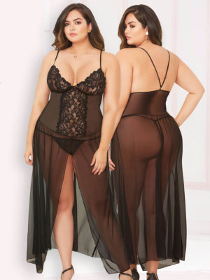 Seven 'til Midnight Sheer Mesh & Lace Gown And Thong Set (plus Size)