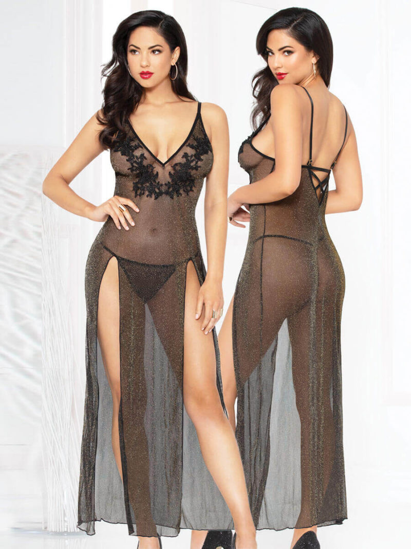 Seven 'til Midnight All That Glitters Long Sexy Gown & Thong Set (black)