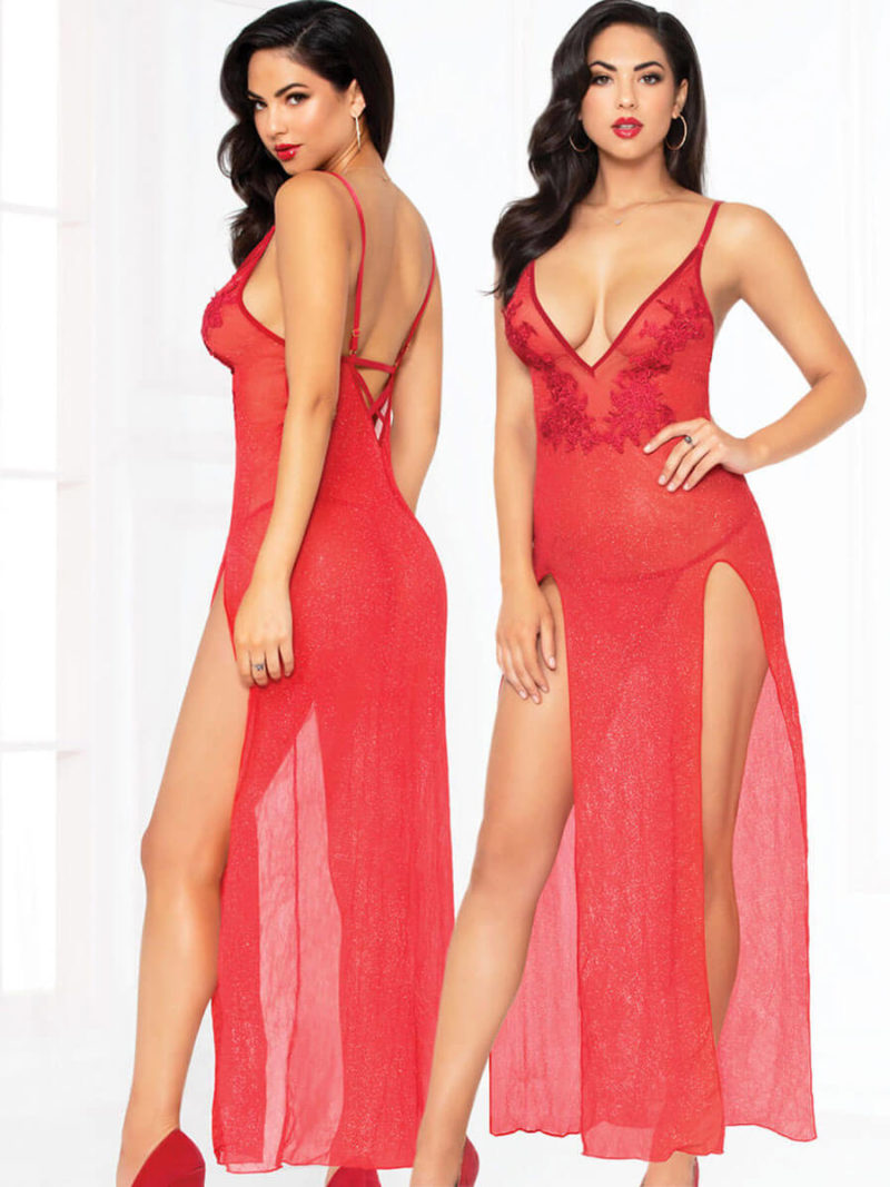 Seven 'til Midnight All That Glitters Long Sexy Gown & Thong Set (red)