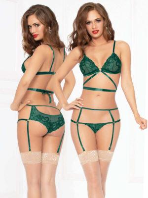 Seven 'til Midnight Emerald Lace And Satin Sexy Bra & Garter Thong Set