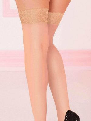 Seven 'til Midnight Sheer Lace Top Stockings (nude)