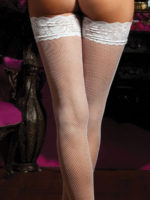 Seven 'til Midnight Lace Top Fishnet Stockings (white)