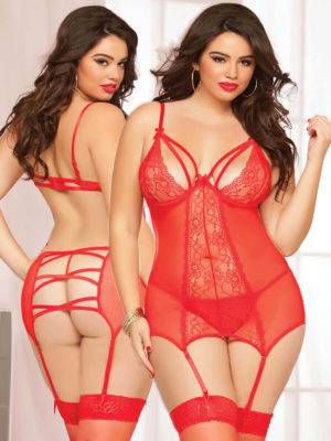 Seven 'til Midnight Double Dare Merrywidow Set (plus Size – Red)