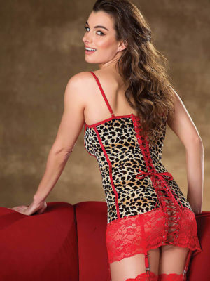 Shirley Of Hollywood 25794 Bedroom Wear Chemise (leopard/red)