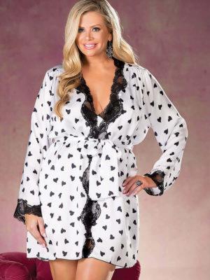 Shirley Of Hollywood X25799 Plus Size Robe (white/black)