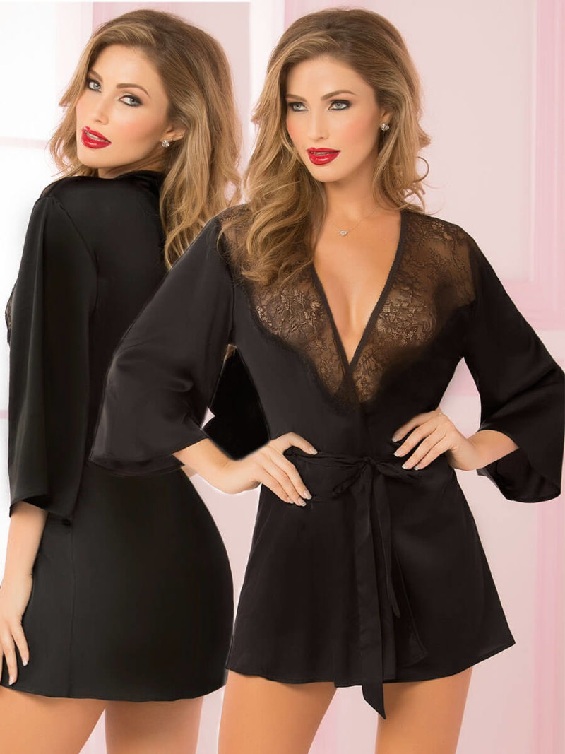Seven 'til Midnight Sexy Toast Of The Town Robe (black)