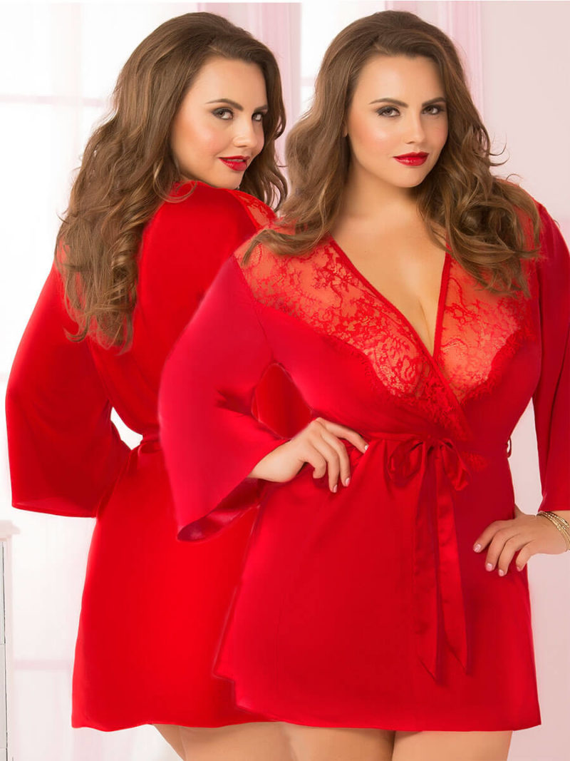 Seven 'til Midnight Sexy Toast Of The Town Robe (plus Size – Red)