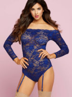 Seven 'til Midnight Floral Lace Sleeved Teddy With Garters