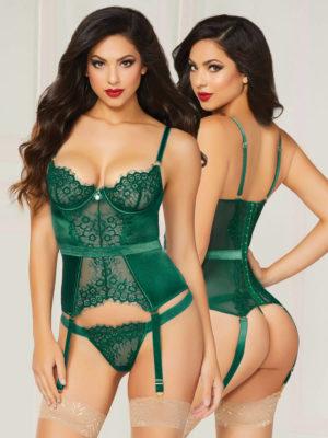 Seven 'til Midnight Gorgeously Green Lace Bustier Lingerie Set