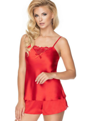 Irall Satin Collection 'tori' Shorts And Cami  Set (hot Red)