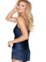 Irall Satin Collection 'tori' Shorts And Cami  Set (navy Blue)