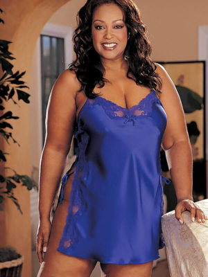 Shirley Of Hollywood X20015 Plus Size Lace Chemise (electric Blue)