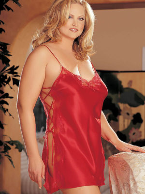 Shirley Of Hollywood X20015 Plus Size Lace Chemise (cherry (red))