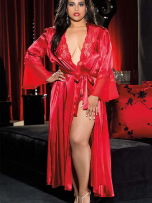 Shirley Of Hollywood X20559 Plus Size Robe (red)