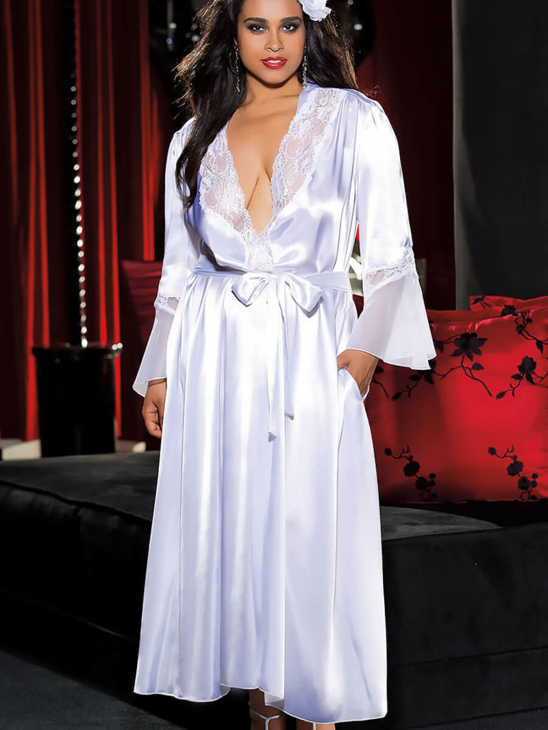 Shirley Of Hollywood X20559 Plus Size Robe (white)