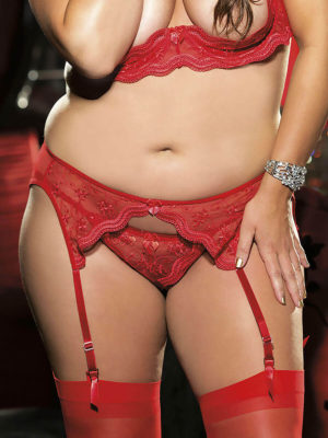 Shirley Of Hollywood X622 Plus Size Suspender Belt (red)
