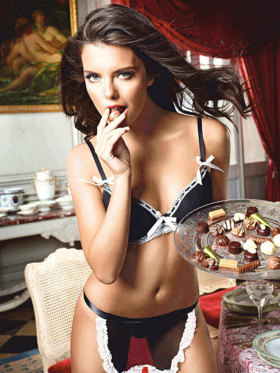 Sexy Maid Dirty Girl Bra And Apron Adult Costume Set -2212