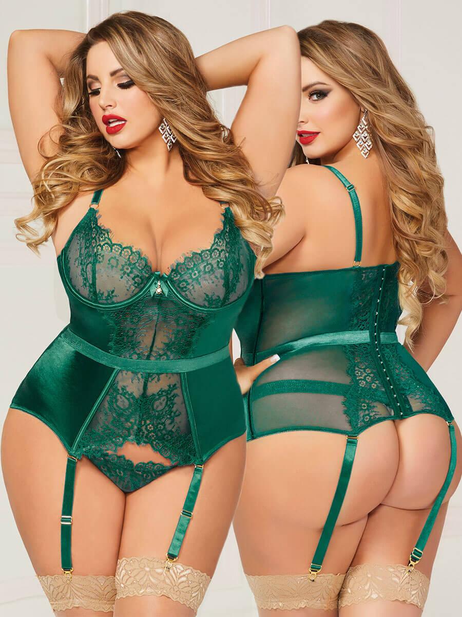 9c36e6cc9568d Details about Seven 'til Midnight Emerald Green Lace Bustier Lingerie Set  (Plus Size 16-24)